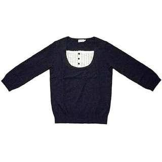 正品 Anatelier 好女孩藍白荷葉邊假兩件七分袖純棉針織衫