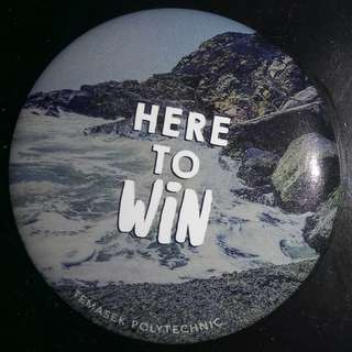 Pinback (Here to win) button x2