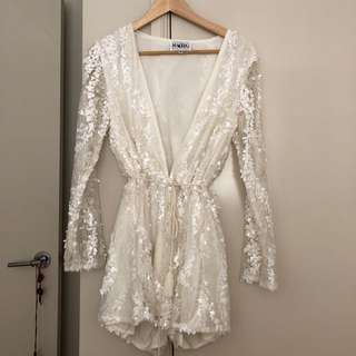 Sequin White Playsuit