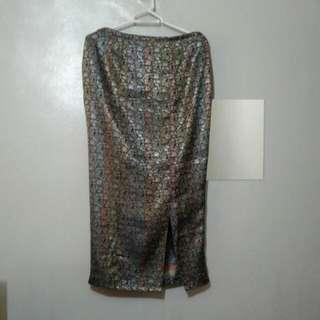 Plus Size Silk-brocade Long Skirt