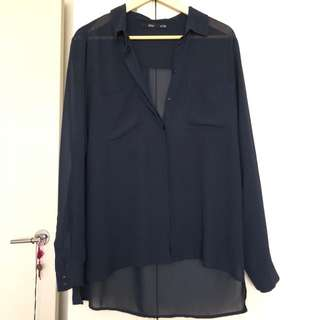 Shear Navy Blue button up