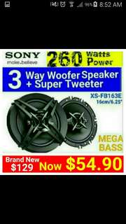 """Brand New] Sony 3 Way 260Watts coaxial SPEAKER  + Built-in dome tweeter + Super Tweeter(16cm/6.5"""" size. ) Usual Price: $ 129.90. Special Price: $54.90 ( Brand New In Box  & Sealed) Model: FB-163E."""