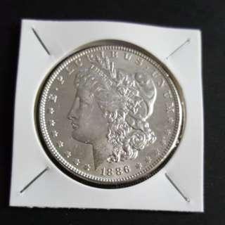 U.S Morgan silver Dollar coin. 1886