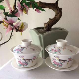🆕Chinese porcelain cups with cover / box