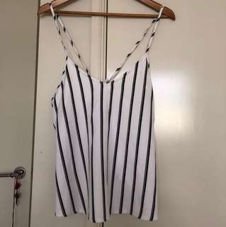 Black and White striped singlet