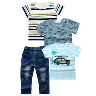 kid boy casual 3 t-shirt + long denim jeans 4 pieces set boys