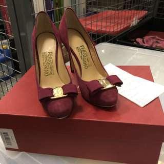 Dark red ferragamo high heels brand new
