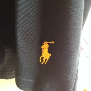 Ralph Lauren Black T Shirt Gold Pony - Medium