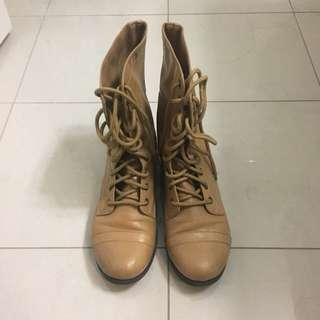 Lace Up Brown/Beige Boots Size 9.5