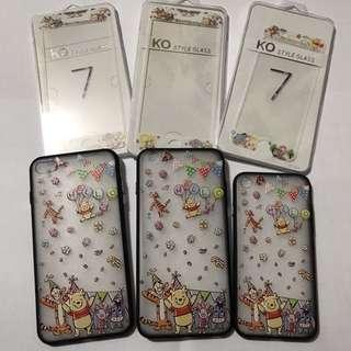 ❤️小熊維尼 卡通公仔 手機保護玻璃貼 + 電話套 Disney Winnie the Pooh