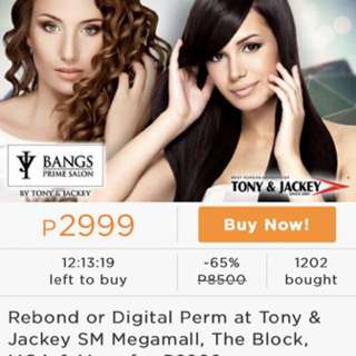 Tony & Jackey Digital Perm or Rebond with Haircut