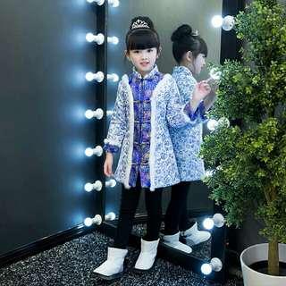 🚚 青花瓷女童中式加絨加棉外套