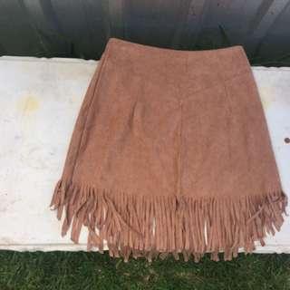 Suede Frilly Boho Skirt