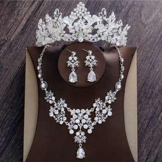 Wedding Crown, Necklace & Earrings