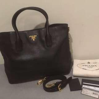 Prada bn2317 vitello daino leather shopping tote bag