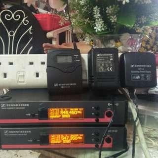 Wireless PA system for active speaker  2 x receiver Sennheiser ew 100 G3 and 1 x sk100 G3 transmitter