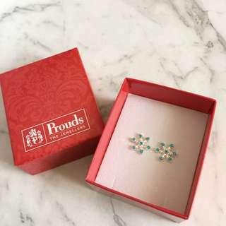 Prouds Sterling Silver Snowflake Earrings
