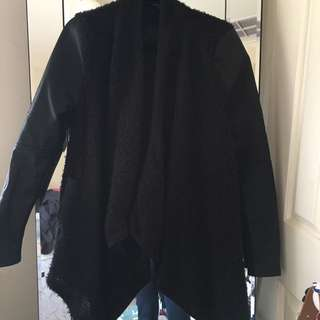 Bardot black leather and wooly cardigan -XS/6