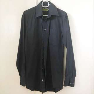 Marks & Spencer black pinstriped button-down
