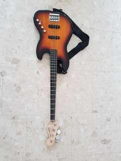 Squier bass guitar (active pickup)