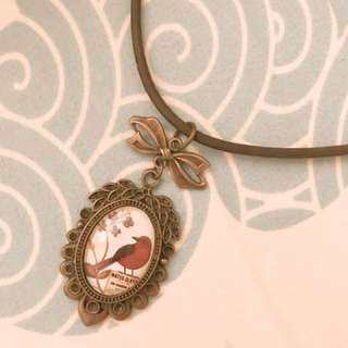 復古風格幸福紅鳥項鍊