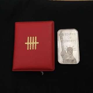 Vintage USA 1 oz liberty silver bar sold by UOB bank
