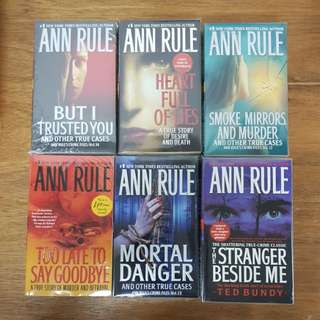 6 assorted novel titles by Ann Rule