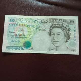 1990 Bank of England 5 pound Note
