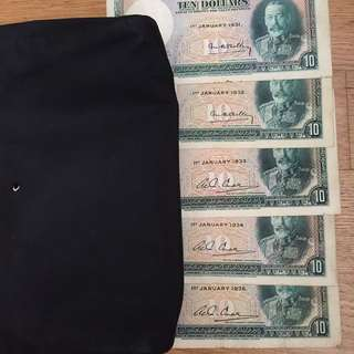 Straits Settlements $10 King George 1931 - 1935 banknotes (for sharing only)