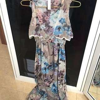 Maci long dress chiffon motif bunga