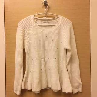 🚚 Lowrys Farm 白色針織珠珠毛衣 M號