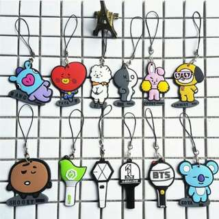 bts bt21 character / exo / got7 / wanna one lightsticks keychain