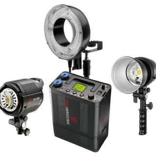 Jinbei DCII-600 Battery Flash w/ 2 Lampheads & Ringflash