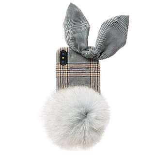 可愛兔仔毛毛球手機殻!