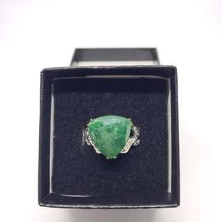 Emerald and diamond two tone engagement/statement ring