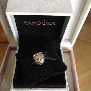 14K Gold Pandora heart silver clip