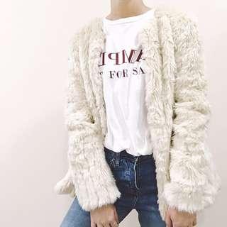 🚚 Zara 毛毛外套 休閒 舒適 保暖 米白色
