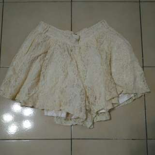 OB嚴選 褲裙 白色 蕾絲