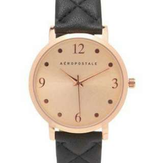 AEROPOSTALE QUILTED FAUX LEATHER ANALOG WATCH ( Black )