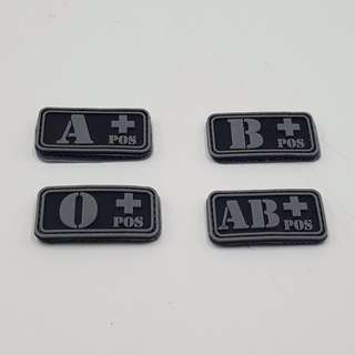 Patch Black Grey Glow In The Dark Blood Group $3. Singapore Flag $4. Instructor $3. Pls Specify Blood Group When Order. Pic 2 & 3 show how It Glows In The Dark. Blood Group 5 X 2.5 cm. Flag 7.5 X 5 cm. Instructor 6.3 X 2.5 cm.