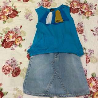 Blue Party Top + Skirt