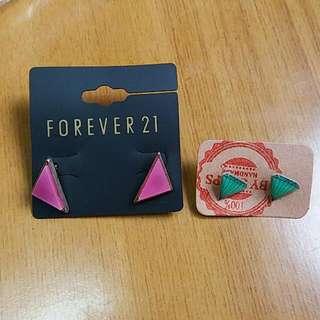 三角形及鑽石形耳環各一對