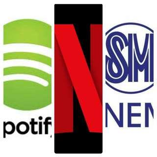 SPOTIFY,NETFLIX AND SM CINEMA