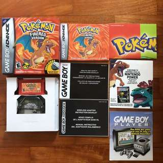 Pokemon Fire Red Gameboy Cartridge with Box and Manuals