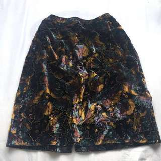 Colourful Leaf Print Skirt with Back Split
