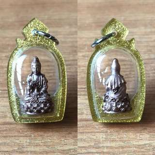 ($68) Thai Amulet - Goddess of Mercy - Guan Yin - Small Size - Rose Gold Plated - Thai Amulets