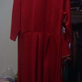 Dress Gaun Merah dan Hitam Putih