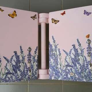 Rekal baby pink dgn motif lavender & kupu-kupu