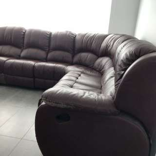 Offers welcome 7 seater leather lounge with recliners