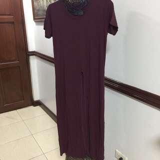 Midslit Maroon Dress
